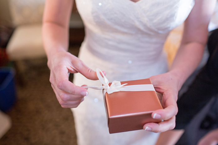 Bride and Groom Gift Giving at Rehearsal Dinner