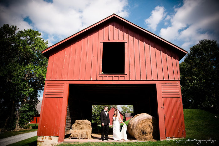 Bride and Groom at Red Barn on Springton Manor Farm