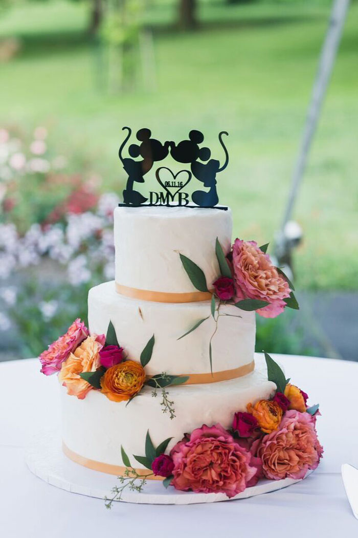 Beautiful Cake with An Adorable Cake Topper Wedding