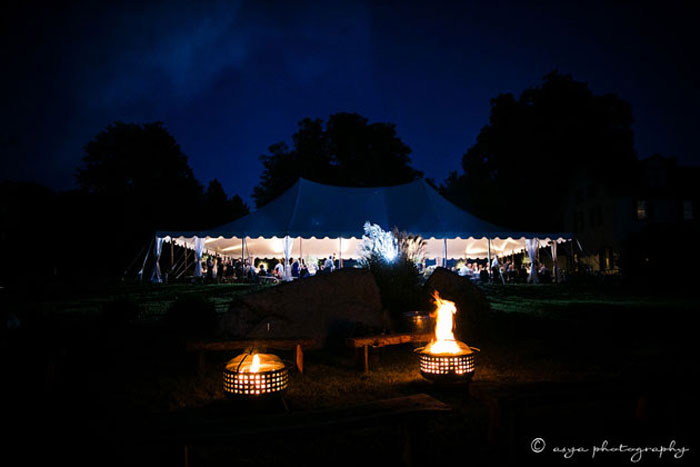 Night Wedding with Firepits