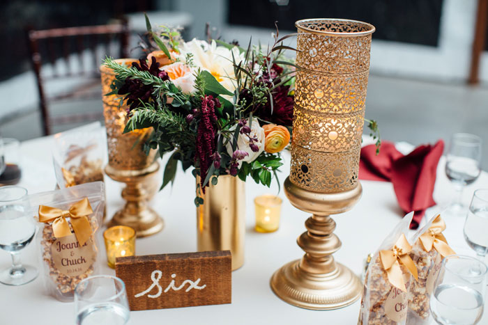 Burgundy and Gold Natural and Rustic Wedding Theme