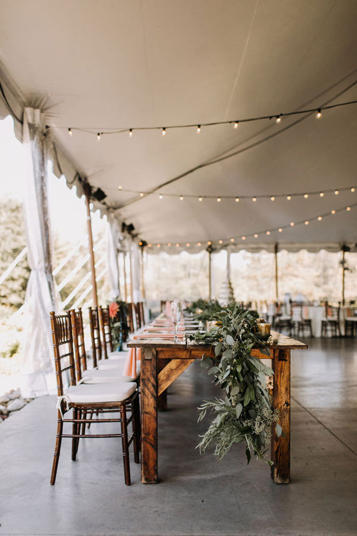 String Lights at Rustic Wedding