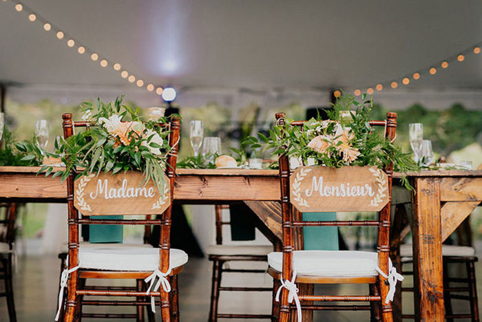 Wood Signage at Rustic Wedding