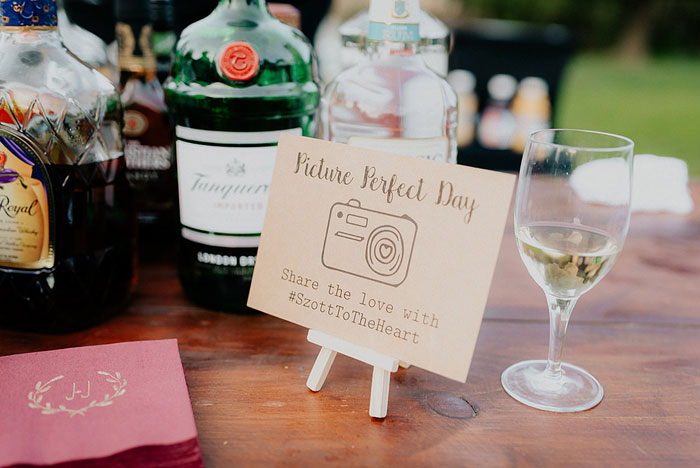 Wedding Hashtag at Reception Bar