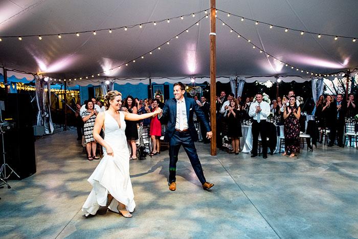 Dancing Under Tent at Wedding Rain Plan