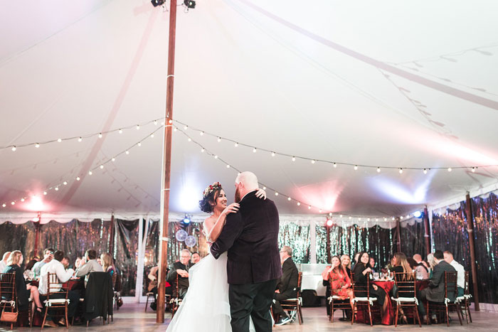 4,000-square-foot tent Wedding Bride and Groom