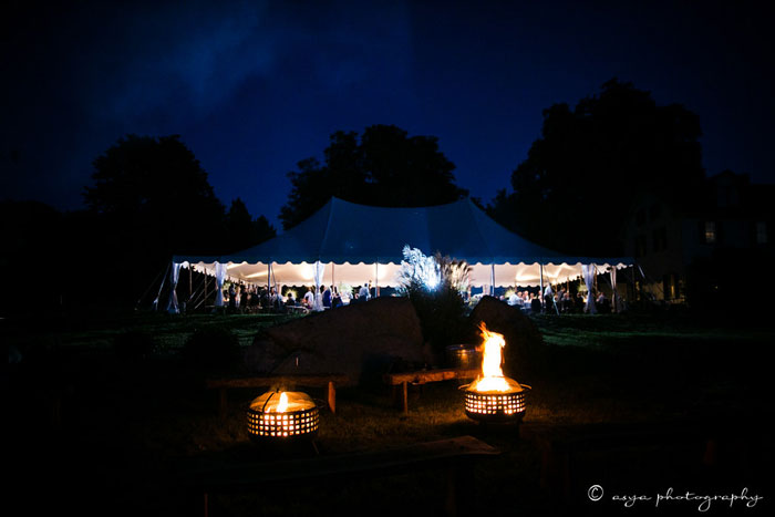 Firepits at Night at Wedding
