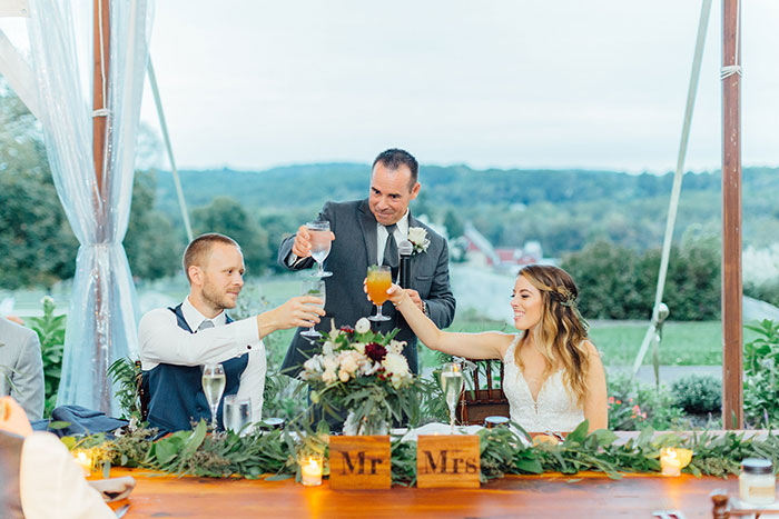 Wedding Toasts at Springton Manor Farm Wedding