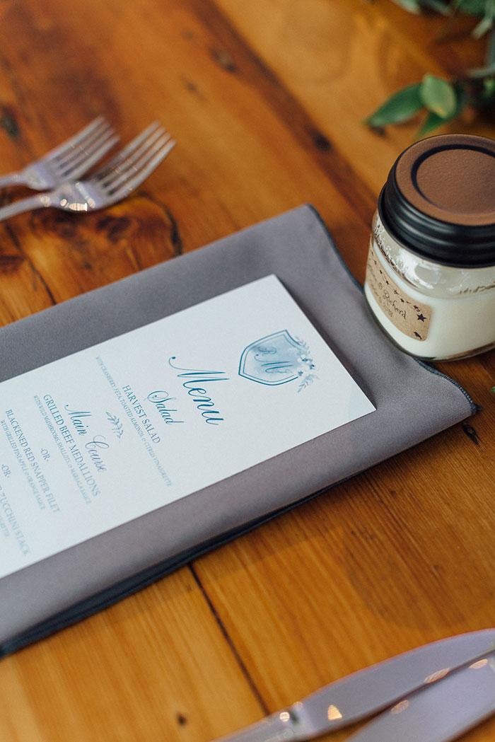 Menu Card at Wedding Table Setting