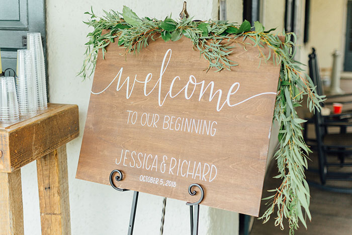 Welcome to Our Beginning Sign at Wedding