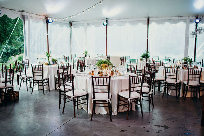 Tented Wedding Set Up During Rain Wedding