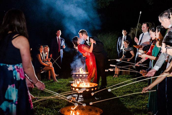 Fire Pits at Outdoor Wedding at Springton Manor Farm