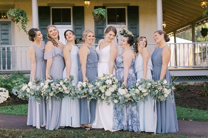 Dusty Blue Multi-Color Bridesmaid Dresses at Springton Manor Farm Wedding