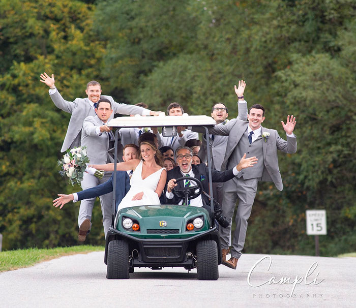 Golf Cart to Drive Around Farm for Wedding Photos