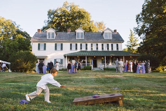 Lawn Game Cornhole at Outdoor Wedding at Springton Manor Farm