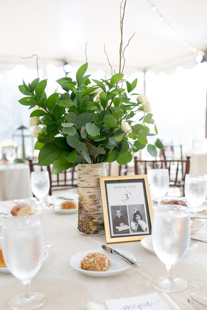 Tree Stump Centerpiece at Wedding
