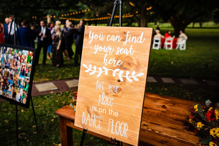 Hand-Painted Wood Signage at Fall Wedding