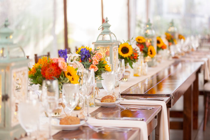 Fall Rustic Wedding Centerpieces with Sunflowers and Lanterns