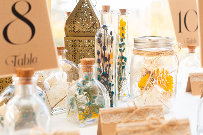 Boho Wedding Centerpieces with Glass, Gold and Flowers